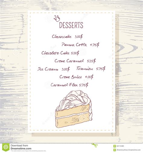 dessert menu templates dessert menu template with sweet vanilla cake stock vector