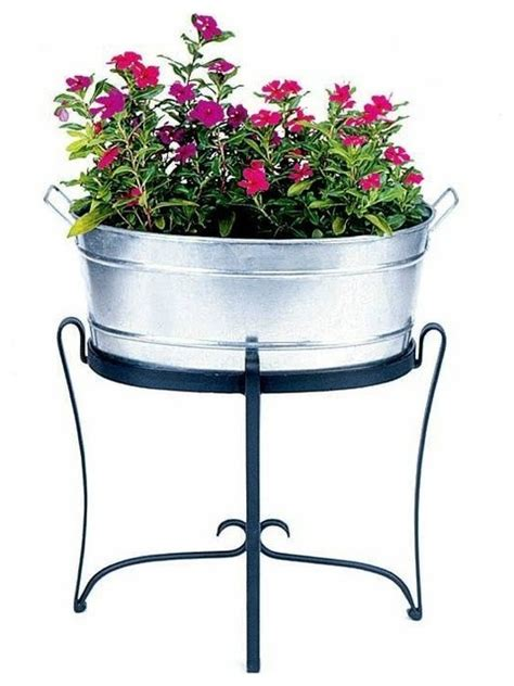 Oval Galvanized Steel Tub Planter Outdoor Pots And Galvanized Steel Planters