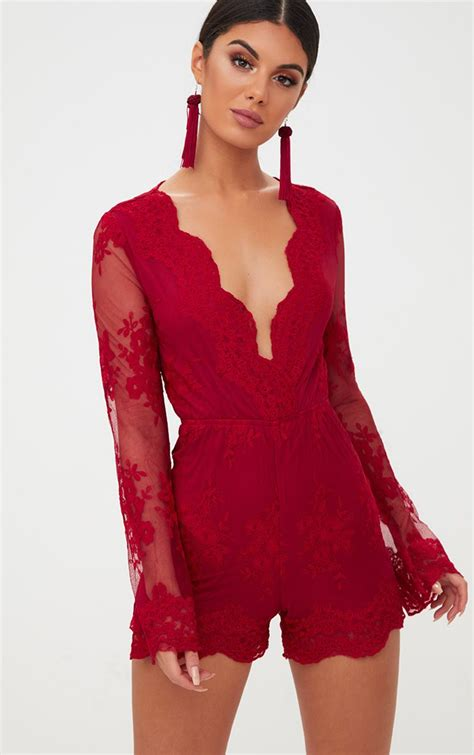 Bell Sleeve Playsuit lace bell sleeve playsuit prettylittlething ie