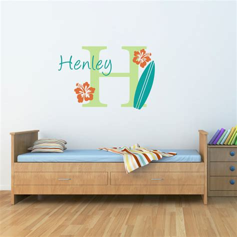 surfboard wall stickers surfboard wall decal with initial name by