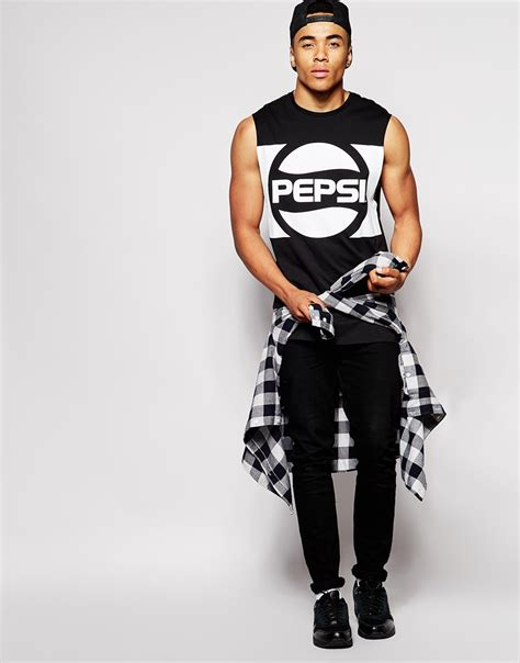 lyst asos longline sleeveless t shirt with pepsi print and dropped armholes in black for