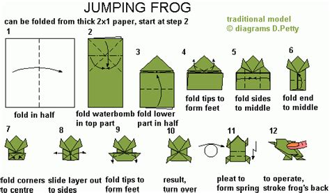 Learn Origami Make A Paper Frog - 50 jumping frog