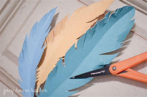 Make Paper Feathers - make a paper feather garland grey house harbor