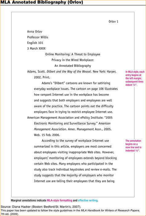 mla citation template what is annotated bibliography mla