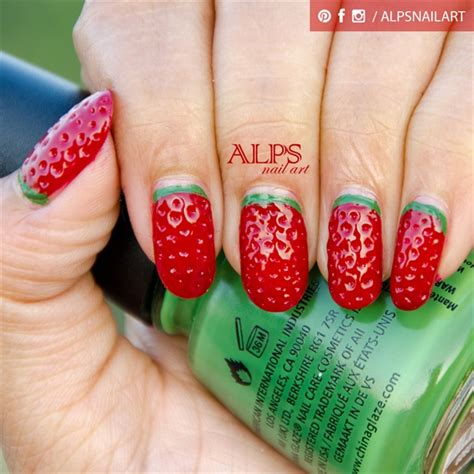 tutorial nail art strawberry strawberry nails by alpsnailart nail art gallery step by