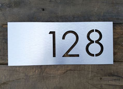 house numbers plaque address plaque modern house numbers brushed metal horizontal