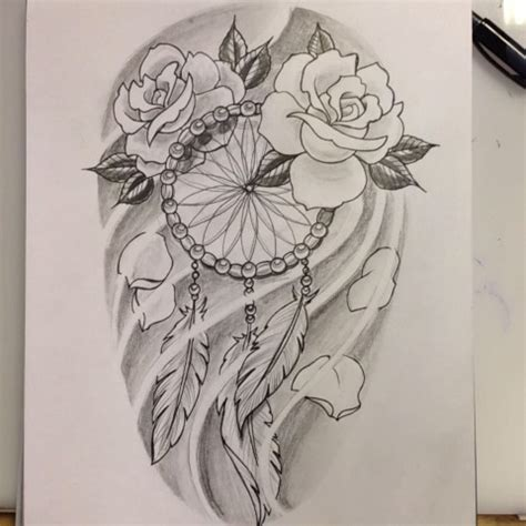 dreamcatcher with roses tattoo dreamcatcher drawing at getdrawings free for