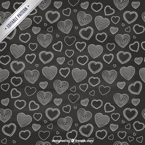 blackboard pattern sketchy hearts pattern in blackboard style vector free