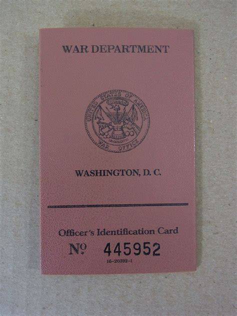 identification card template ww2 us army ww2 officer s identification card truppen