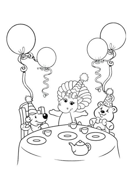 Barney Dinner Coloring Page | Coloring pages, Barney party