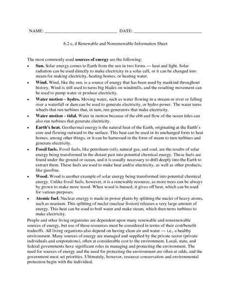 Energy Resources Worksheet by 11 Best Images Of Alternative Energy Sources Worksheet