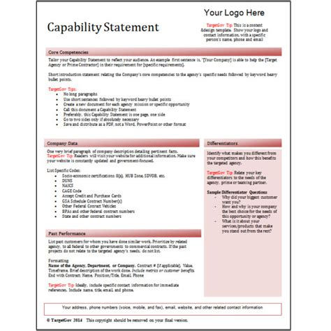 capability statement editable template red targetgov