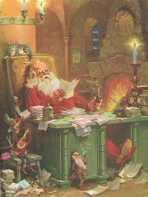 vintage   office  santa claus christmas art print  george hinke