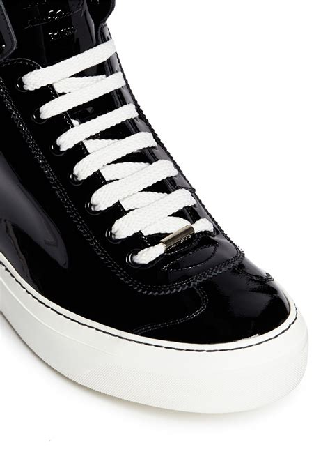 mens patent leather sneakers jimmy choo patent leather sneakers in black for lyst