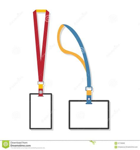 template flat design of lanyard end badge stock vector