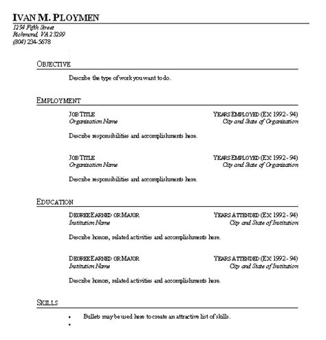 free fill in resume template free microsoft word blank cv application