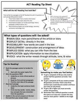 tips for the reading section of the act act reading tip sheet by msplu teachers pay teachers