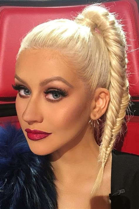 Aguilera Hairstyles by Aguilera Platinum Fishtail Braid