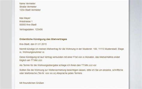 Muster Ordentliche Kündigung Mietvertrag Vermieter Mietvertrag K 252 Ndigen Muster Vorlagen Tipps Freeware De