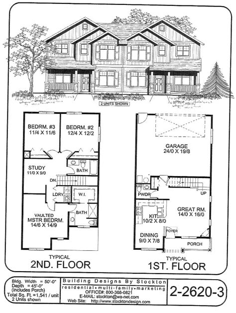 Duplex House Plans With Garage 3 2 2 Duplex Plan Building Designs By Stockton Plan 2 2620 3 Duplex Fourplex Plans