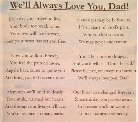 Poem I wrote for my dad. Love you dad Funeral poem