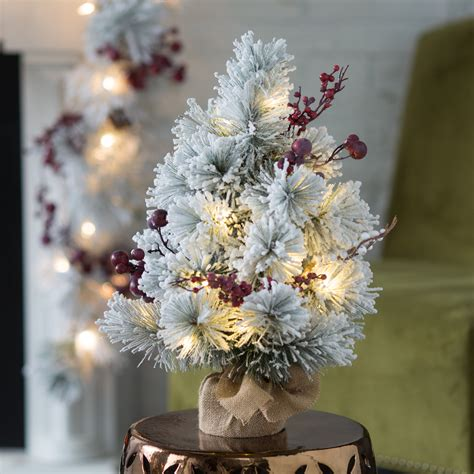 18 inch battery lit christmas tree belham living 20 in flocked pine needle pre lit battery operated tree with berries