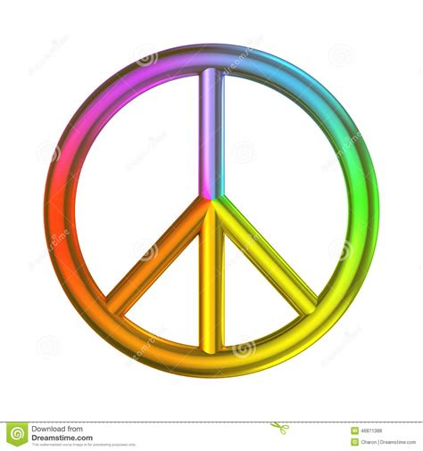 Love Peace Freedom Sign Rainbow Color Stock Illustration Peace Sign With Color On Inside