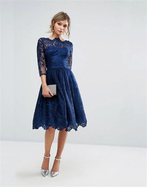 Premium Blue Lace Mid Slit Dress lyst chi chi premium lace midi dress with 3 4 length sleeve in blue