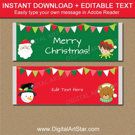 christmas candy bar wrappers printable christmas candy