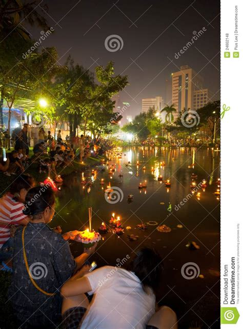 loy lake lights loi krathong lake lights editorial stock photo