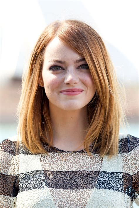 shoulder length emma stone mid length bob shoulder length hairstyles