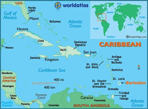 Barbados Maps Including Outline And Topographical Maps | map of the us and caribbean travel maps and major