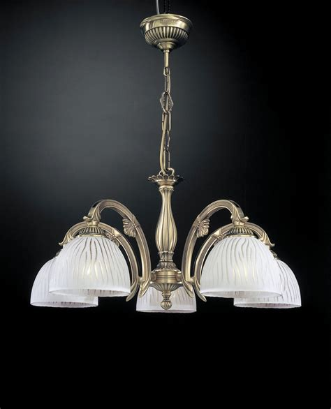 Chandelier Stores Brass Chandelier With White Striped Glass 5 Lights Reccagni Store