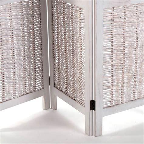 Rattan Room Divider Folding Screen Quot Ibiza Quot Wood Rattan 67 Quot White Room Divider Paravent Ebay