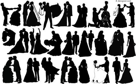 4 Designer Creative Wedding Couple Silhouette Vector Material Wedding Silhouette Template