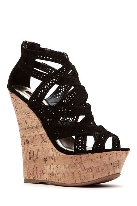 Wedges Boot Laser Trendy Krem black laser cut ahead cork wedges cicihot wedges