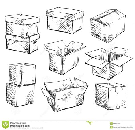 doodle box vector free set of doodle cardboard boxes vector illustration stock