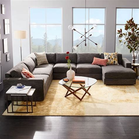 west elm urban sofa review urban 4 piece chaise sectional charcoal heathered tweed