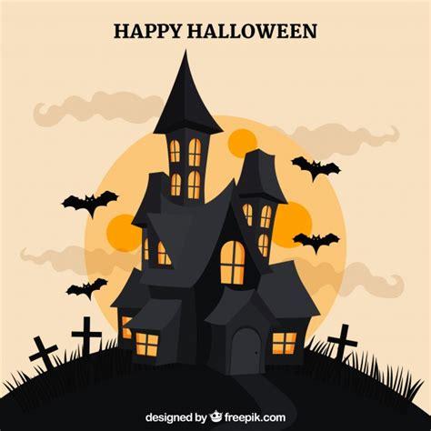 imagenes de halloween vector halloween house bats and full moon vector free download