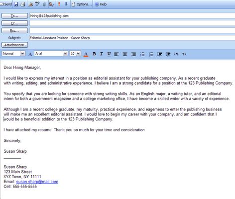sending a cover letter through email how to write an application letter cover letter that