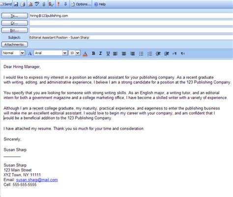 email template that will help you write a cover letter