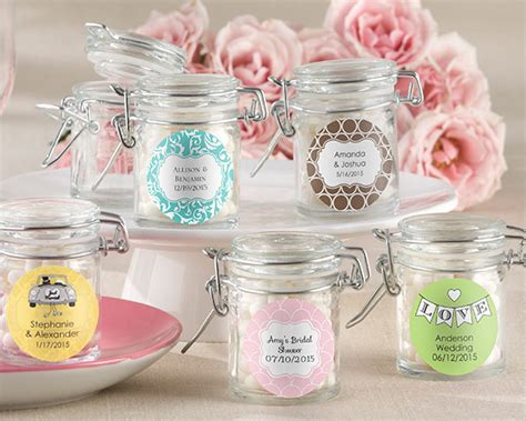 1.5 OZ Glass Favour Jars with Personalized Sticker (pk of 12) $35.70   Weddingfavours.ca