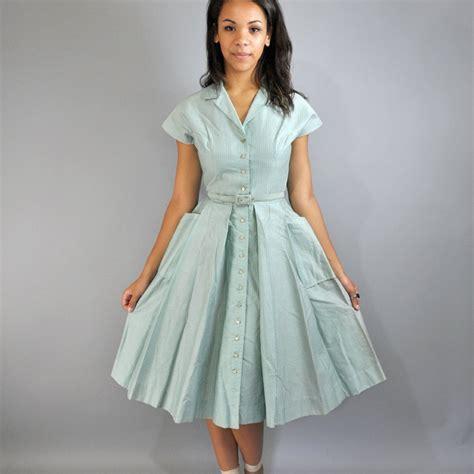 swing skirt dress 50s dress day dress bobbie brooks shirtwaist dress