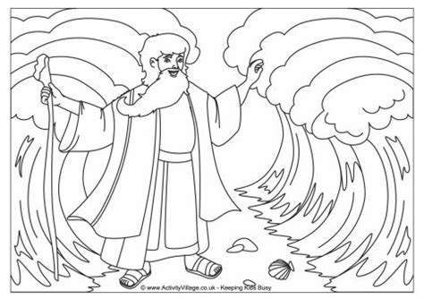 moses parting the red sea colouring page