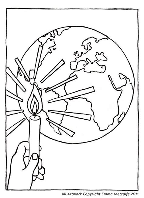 cafod colouring sheet illustration light of the world
