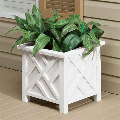 white outdoor planter box pot plastic chippendale lattice