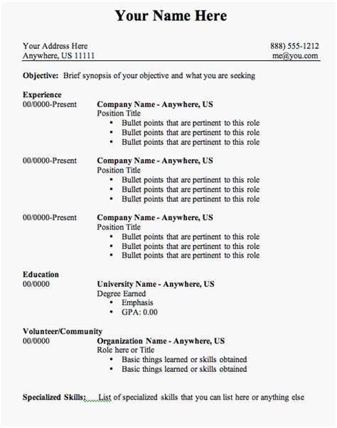 Resume Outline by Format Basic Resume Outline Template Jennywashere