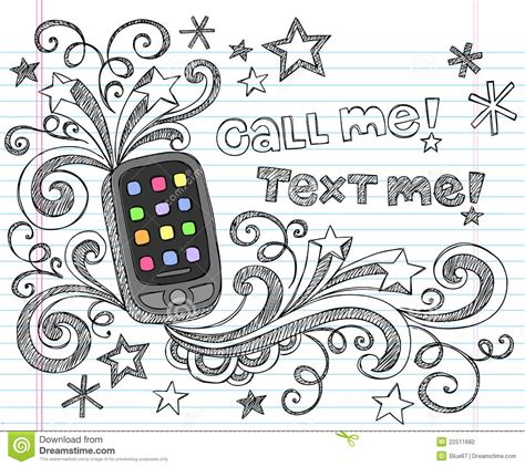 doodle telephone cell phone pda back to school doodle set vector stock