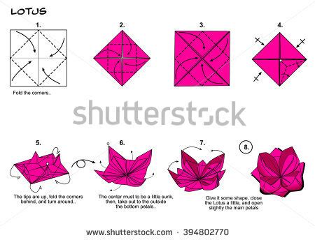 Paper Folding Flowers Step Step - origami flower stock images royalty free images vectors