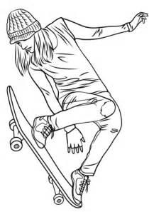 girl skateboarding coloring page free printable coloring